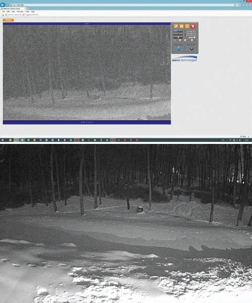Low light images from the IP 0iM01 are almost unusable (top). Other similarly priced cameras have better low light response (bottom). Both pictures show the same scene at the same time.