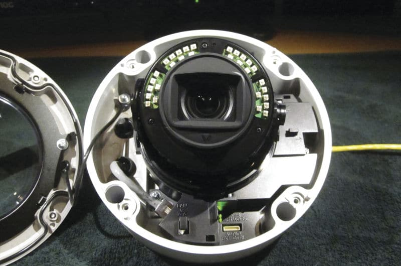 """The SNC-VM772R has a half moon of IR illuminators built in to its housing, and a rubbery lens protector/shroud to block out the majority of IR """"blow-back."""""""