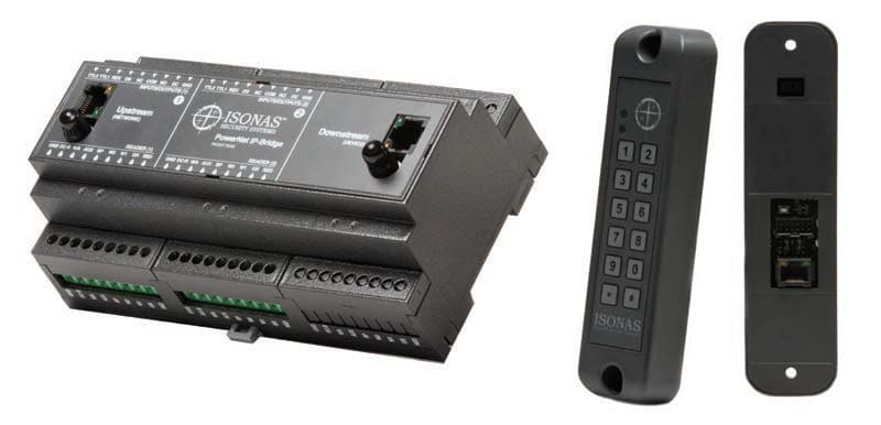 The PowerNet IP Bridge (above) is used to take over existing panel-based systems and connect them to Pure IP Access. Readers (right) may include an optional keyboard and feature a built-in controller.