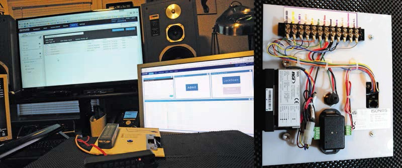The demo kit (right) proved to be an effective way to test all aspects of the hardware. Software testing (above) was performed on several computers simultaneously to validate reliability.