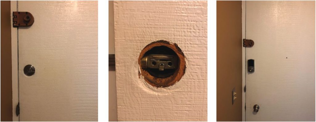 Adding the Kwikset Convert to an existing lock is fairly straightforward. Remove the interior portion of the existing deadbolt (left), determine the conversion kit needed (center) and replace the old thumbturn with the new Convert (right).