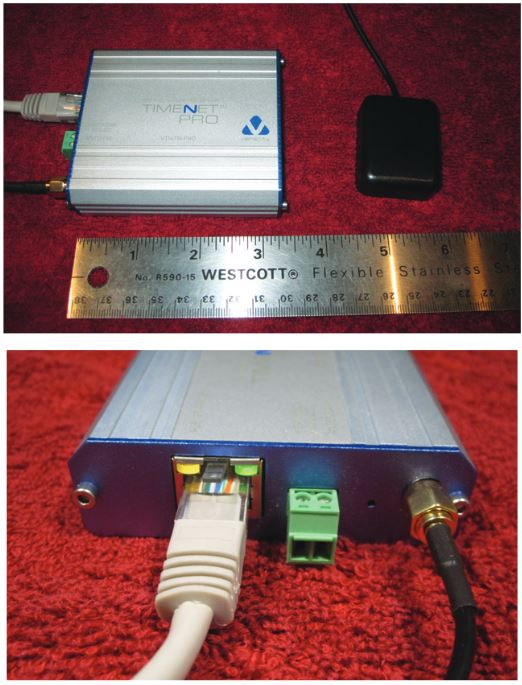 The time server is smaller than the size of a deck of playing cards. The housing is constructed from aluminum and has a solid feel. Its three connections are an RJ-45 jack for net-work and PoE connectivity, two-pin auxiliary power connector and gold-plated SMA coaxial connector.